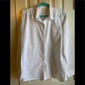 GAP White Fitted Boyfriend Button Down-size XL